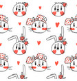 seamless pattern with faces cats and rabbits in vector image vector image