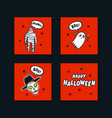 set halloween holidays mini cards with vector image vector image