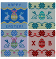 set knitted easter backgrounds vector image