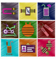 set of flat shading style icons gym equipment vector image vector image
