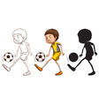 Sketches of a soccer player in different colors vector image vector image