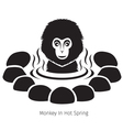 Snow Monkey In Hot Spring Monochrome vector image vector image