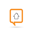 square orange speech bubble with house icon vector image vector image
