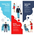 Stewardess And Pilot Banners Set vector image vector image
