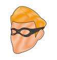 Superhero man face male with the mask cartoon