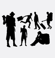 tourist male and female pose silhouette vector image vector image