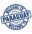 welcome to paraguay blue round vintage stamp vector image vector image