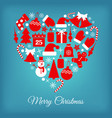 winter icons heart vector image
