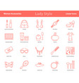 woman accessories outline icons set vector image