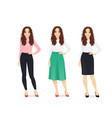 young woman different style clothes vector image