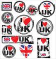 I love UK ink rubber stamp set vector image