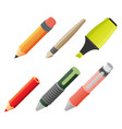 paint and writing tools flat icons vector image