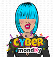 woman pop art computer hacker cyber monday vector image