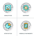 A set of four icons on business issues and vector image