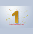 anniversary banner celebration with gold confetti vector image