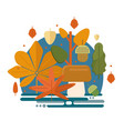 autumn foliage composition in flat style vector image vector image