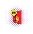 AVI file icon in comics style vector image vector image