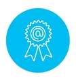 Award with at sign line icon vector image