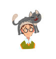 boy in glasses and his funny cat adorable pet vector image vector image