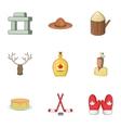 Canadian symbols icons set cartoon style vector image vector image