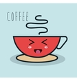 cartoon cup coffee red facial expression isolated vector image vector image