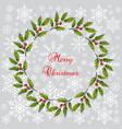 christmas holly tree wreath vector image vector image