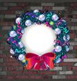 christmas wreath on old brick wall vector image vector image