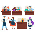 cooking classes work in pairs men and women in vector image vector image