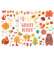 cute animals and plants set vector image vector image