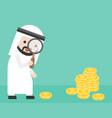 cute arab businessman looking money through vector image