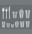 disposable utensils plastic tableware knives vector image