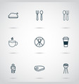 eating icons set includes icons such as restroom vector image vector image