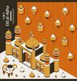 Eid al adha background isometric islamic arabic