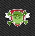 Emblem Army Skull on shield vector image