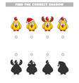 find the shadows chickens vector image