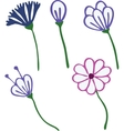 Flowers drawn in kid style outline for coloring vector image