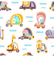 funny cartoon animals driving different vehicles vector image