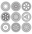 Gears set black vector image vector image