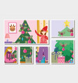 girls decorating trees gifts tree merry christmas vector image