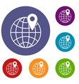 globe with pin icons set vector image vector image