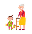 grandma with small granddaughter colorful banner vector image