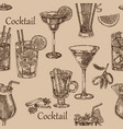 hand drawn cocktail seamless background sketch vector image
