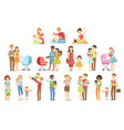 happy families with small children vector image vector image