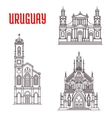 Historic famous architectural buildings of Uruguay vector image vector image