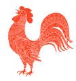 isolated hand drawn decorated red rooster vector image