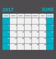 June 2017 calendar week starts on Sunday vector image vector image