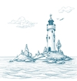 lighthouse island in sea sketch vector image vector image
