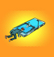 man trapped in a mousetrap smartphone vector image vector image