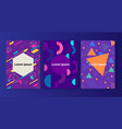 memphis style covers set with geometric shapes vector image vector image