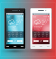 Modern smartphone with weather app on the screen vector image vector image
